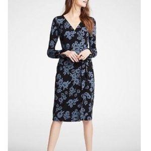 Ann Taylor Midi Floral Wrap Dress